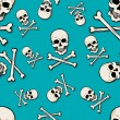 Vector seamless pattern with skulls and bones on turquoise background — Stock Vector #32512629