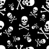 Vector seamless pattern with skulls and bones on black background — Stock Vector
