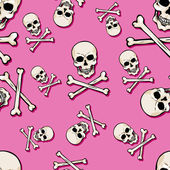Vector seamless pattern with skulls and bones on pink background — Stockvektor