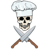 Vector character - skull chef and crossed knifes — Stock Vector