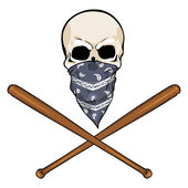 Vector character - skull vandal and crossed baseball bats — Stock Vector