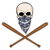 Vector character - skull vandal and crossed baseball bats — Stock Vector