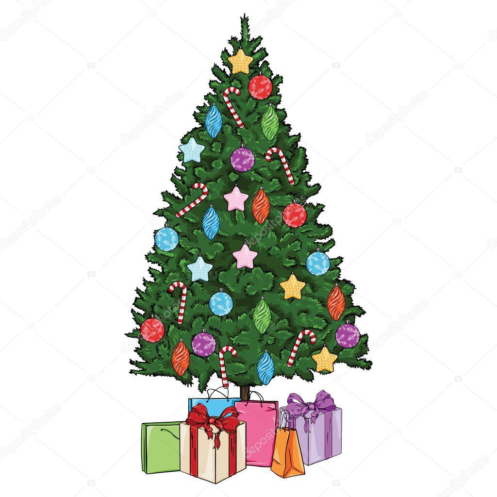 Rbol de navidad de dibujos animados vector con regalos y - Arbol de navidad con regalos ...