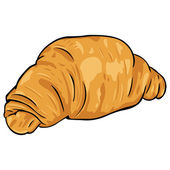 Vector cartoon croissant from flaky pastry — Stock Vector