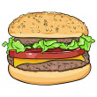 Vector cartoon hamburger — Stock Vector