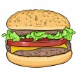 Stock Vector: Vector cartoon hamburger