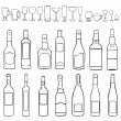 Vector line art set - bottles and stemware — Stock Vector
