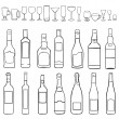 Vector line art set - bottles and stemware — Stock Vector #33274901