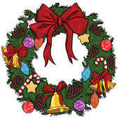 Vector cartoon christmas wreath — Stockvector