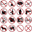 Vector icons set - 16 flat prohibition signs — Stock Vector