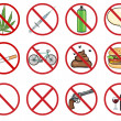 Vector icons set - 12 cartoon prohibition signs — Stock Vector #33622619