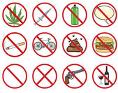 Vector icons set - 12 cartoon prohibition signs — Stock Vector