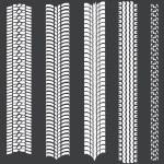 Vector set of 5 white tire tracks — Stock Vector #33774813
