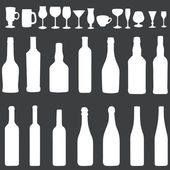 Vector white silhouette icon set - bottles and stemware — Stock Vector