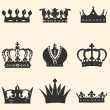Vector set of 9 crown icons — Stock Vector