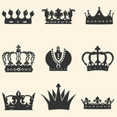 Vector set of 9 crown icons — Vector de stock