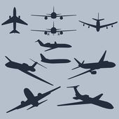 Vector set of 10 plane silhouette — Stock Vector
