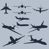 Vector set of 10 plane silhouette — Stock Vector