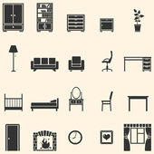 Vector set of 20 furniture icons — Stock Vector