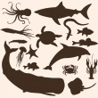 Vector set of sea animals silhouettes — Stock Vector #34593221