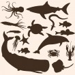 Vector set of sea animals silhouettes — Stock Vector
