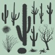 Vector set of Silhouettes of cacti and other desert plants — Stock Vector #34801905