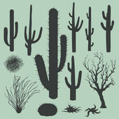 Vector set of Silhouettes of cacti and other desert plants — Stock Vector