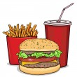 Vector cartoon fast food combo - hamburger, french fries, soda — Stock Vector