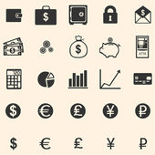 Vector set of 25 finance icons — Stock Vector