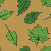 Seamless pattern of greenleaves — Stockvector
