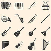 Vector set of 16 musical instruments icons — Stock Vector