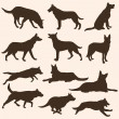 Vector set of dogs silhouettes — Stock Vector