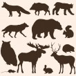 Vector set of forest animals silhouettes — Stock Vector