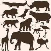Vector set of tropical animals silhouettes — Stock Vector