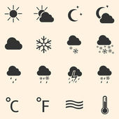 Vector set of 16 black weather icons — Stock Vector