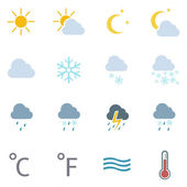 Vector set of 16 color weather icons — Stock Vector