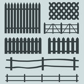 Vector set of rural fences silhouettes — Stock Vector