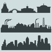 Vector set of city silhouettes - cultural, industrial and urban buildings — Stock Vector