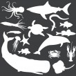 Vector set of white sea animals silhouettes — Stock Vector