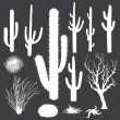 Vector set of white silhouettes of cacti and other desert plants — Stock Vector