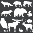 Vector set of white forest animals silhouettes — Stock Vector