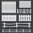 Vector set of white rural fences silhouettes — Stock Vector #35997977