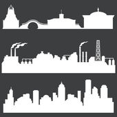 Vector set of white city silhouettes — Stock Vector