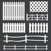 Vector set of white rural fences silhouettes — Stock Vector