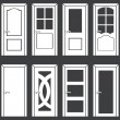 Vector set of 8 white door icons — Stock Vector #36011673