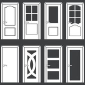 Vector set of 8 white door icons — Stock Vector