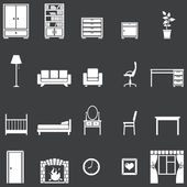 Vector set of 20 white furniture icons — Stock Vector