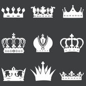 Vector set of 9 white crown icons — Stock Vector