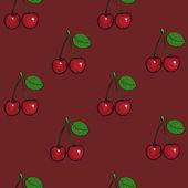 Vector seamless pattern of cherry on dark red background — Stock Vector