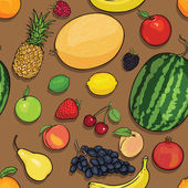 Vector seamless pattern of fruits on brown background — Stock Vector